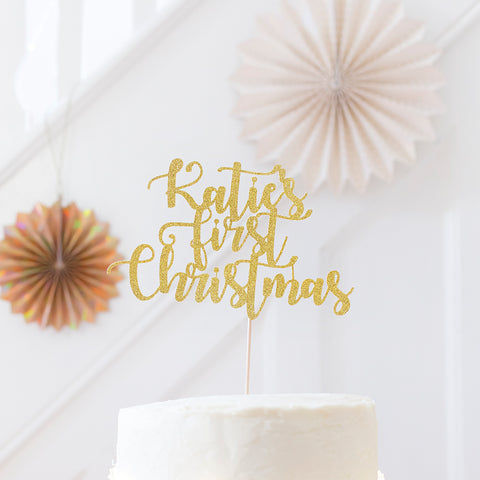 Baby's first Christmas custom name Cake Topper | Christmas Decorations