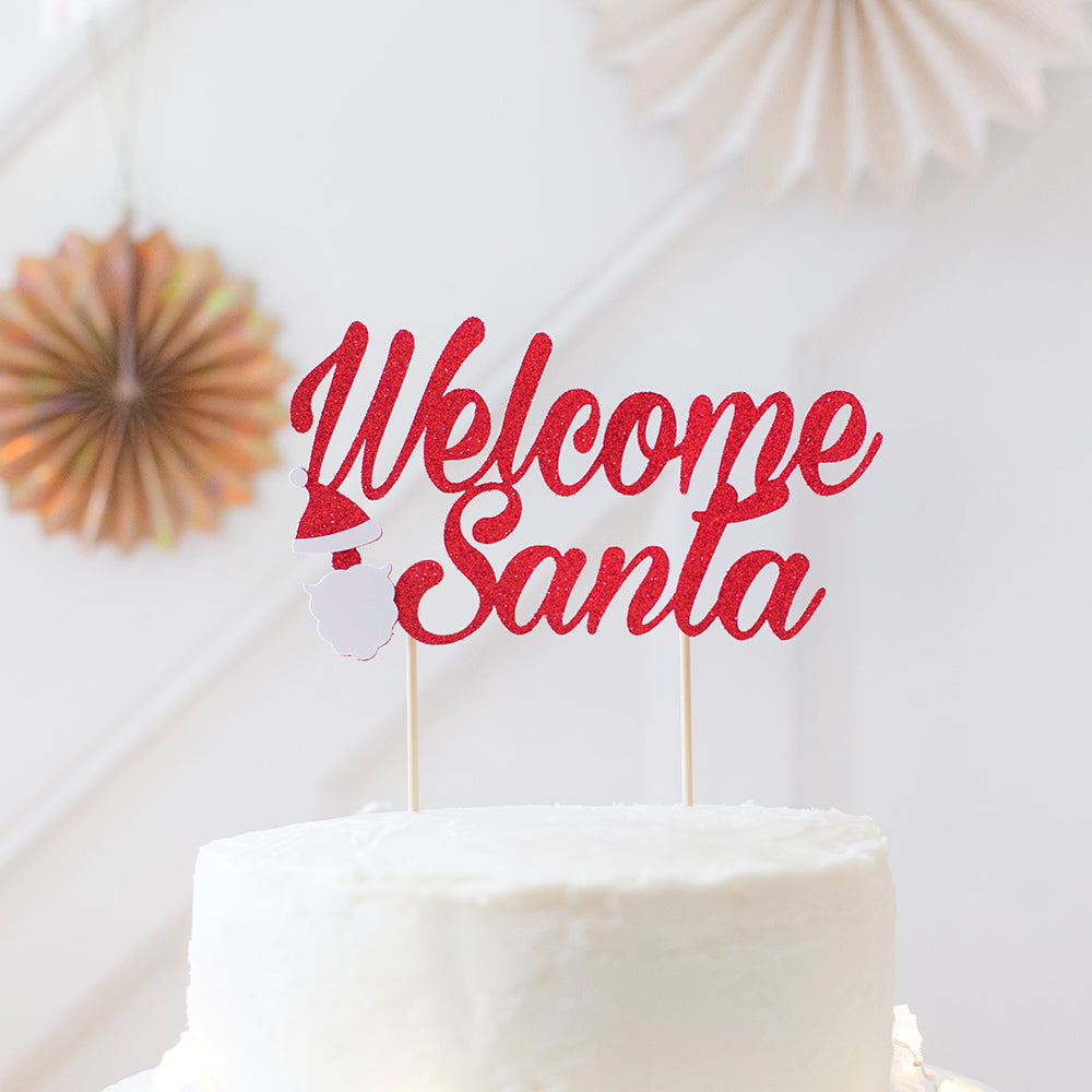 Christmas Decoration. Christmas Party Cake Topper | Welcome Santa - First birthday Inspired by Alma - Inspired by Alma Inspired by Alma - Inspired by Alma  Cake topper - Party decorartions, cake toppers, cupcake topper, confetti, iron on, outfit, straws, decor, first birthday party decorations.,