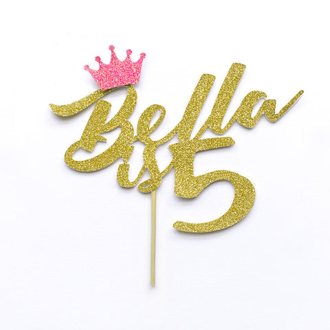 Name is age cake topper with decorative crown