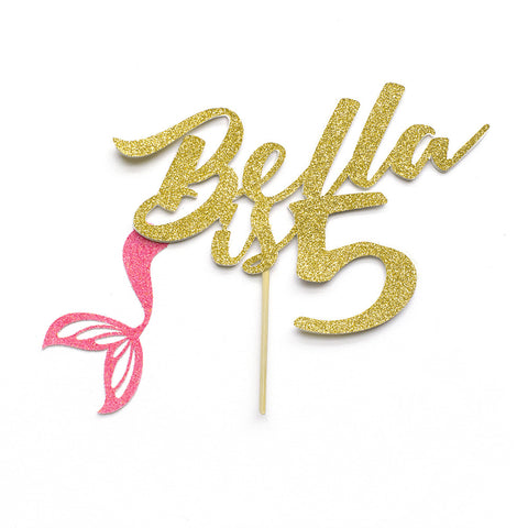 Gold glitter mermaid cake topper