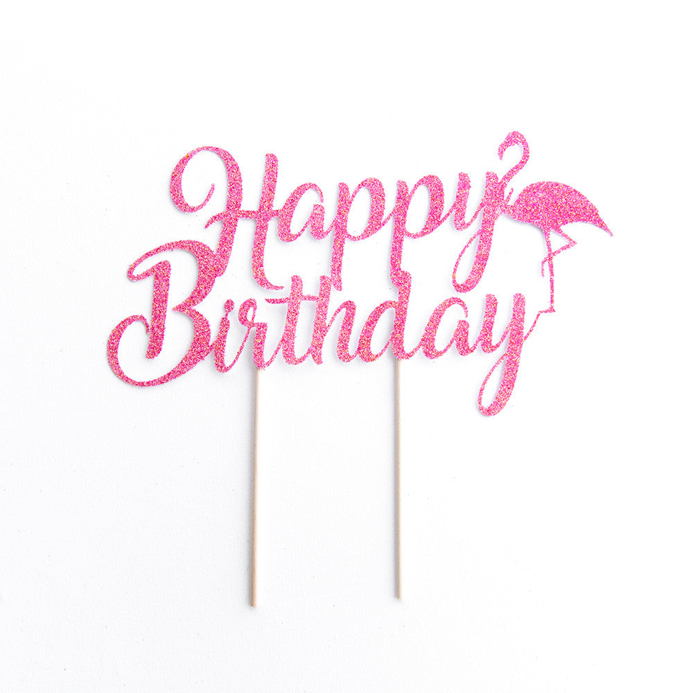 Happy Birthday Flamingo Cake Topper