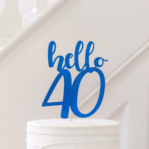 40th Birthday cake topper - blue glitter