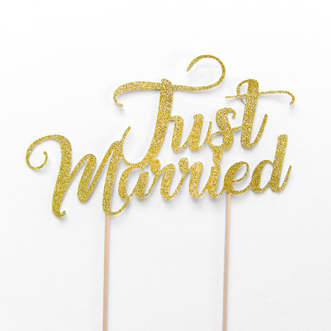 just married wedding cake topper gold glitter