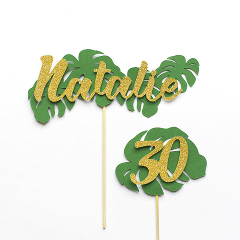 Tropical leaf birthday cake topper