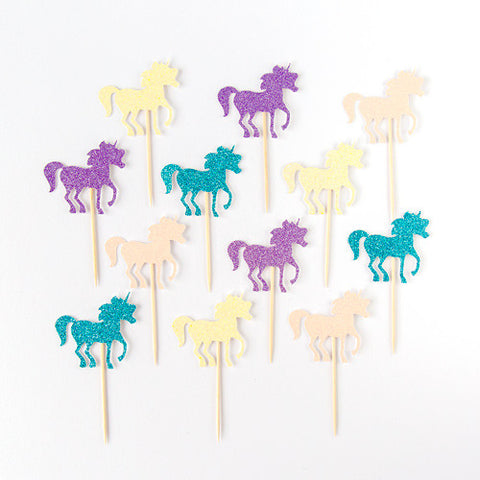 Unicorn Cupcake toppers - pack of 12