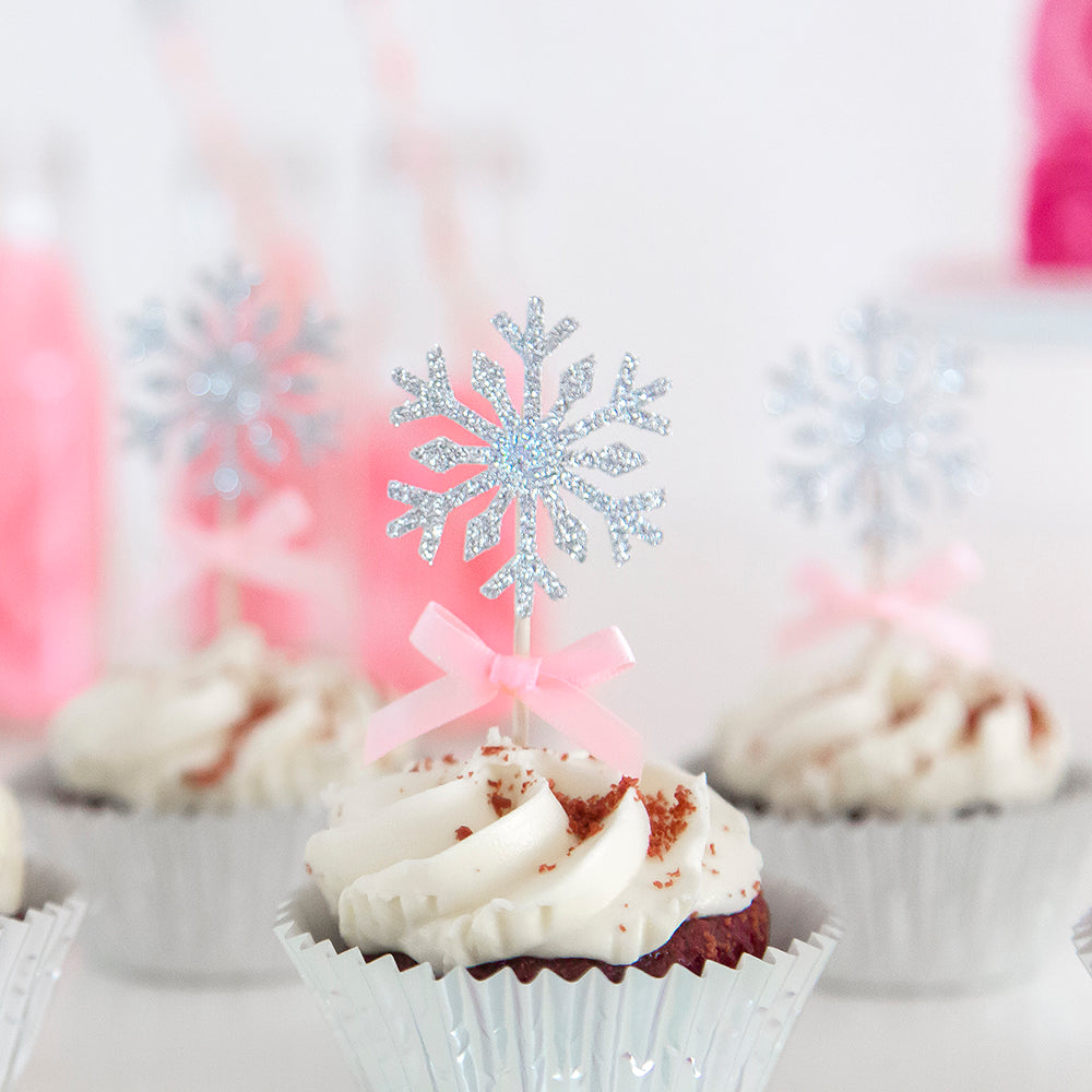 First Birthday Winter Onederland Snow Flake Cupcake Toppers
