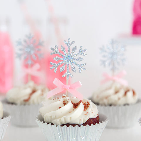 Snowflake cupcake toppers - Pink and Silver
