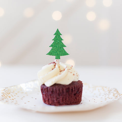 Chirstmas tree cupcake toppers green glitter