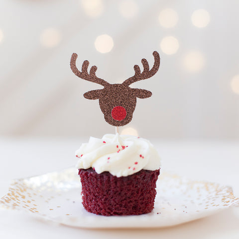 Rudolph the red nose reindeer cupcake toppers in brown and red glitter nose
