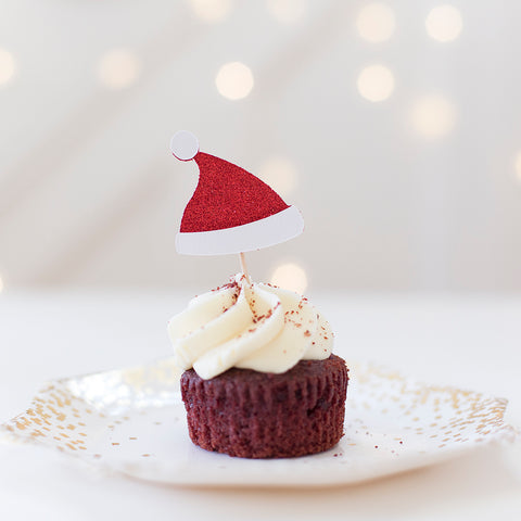 santa hat Christmas cupcake toppers - red and white glitter