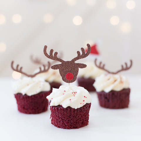 Rudolph the red nose reindeer cupcake toppers in brown and red glitter