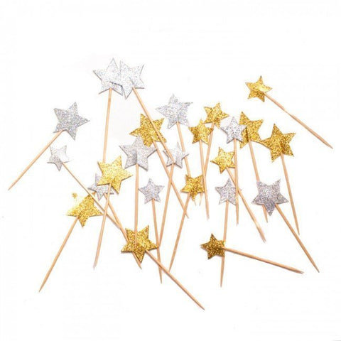 Gold and silver glitter star party picks