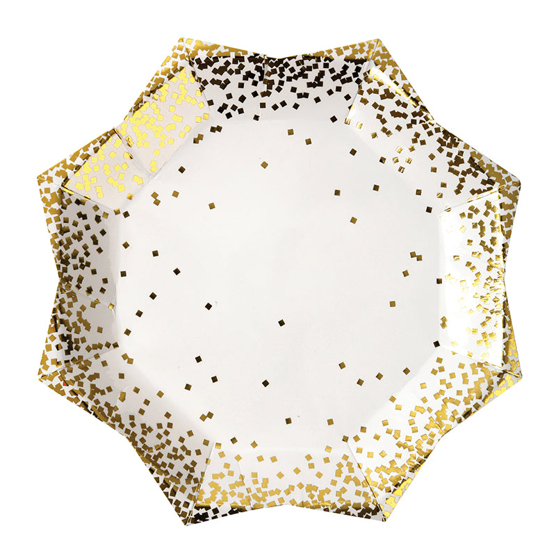Gold Confetti Paper Plates | Pack of 8 Small Plates - First birthday Inspired by Alma - Inspired by Alma Inspired by Alma - Inspired by Alma  Tableware - Party decorartions, cake toppers, cupcake topper, confetti, iron on, outfit, straws, decor, first birthday party decorations.,