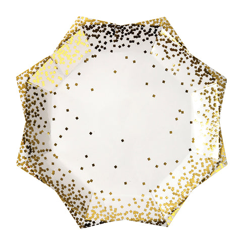 large gold confetti party plates