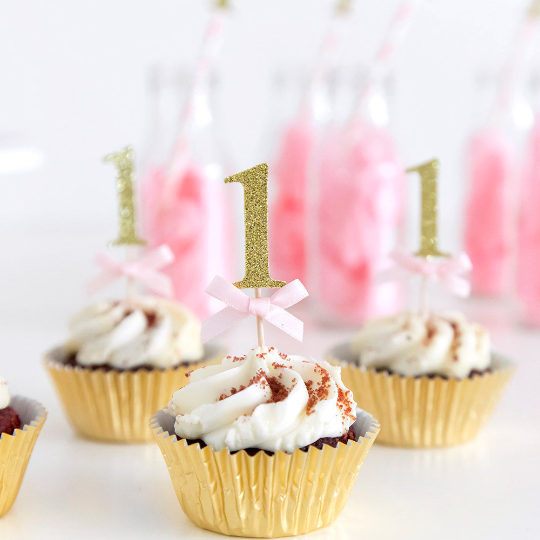 First birthday cupcake toppers with pink bows