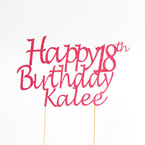 Happy 18th Birthday name Cake Topper - custom name and age - First birthday Inspired by Alma - Inspired by Alma Inspired by Alma - Inspired by Alma  Cupcake toppers - Party decorartions, cake toppers, cupcake topper, confetti, iron on, outfit, straws, decor, first birthday party decorations.,