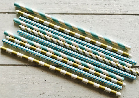 Party Straws - Blue and Gold