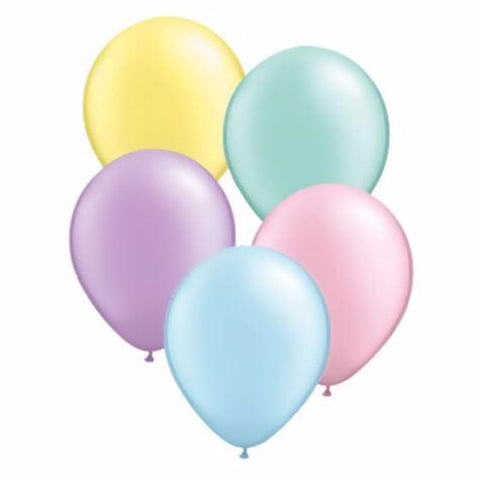 mix of party balloons in pastel colours