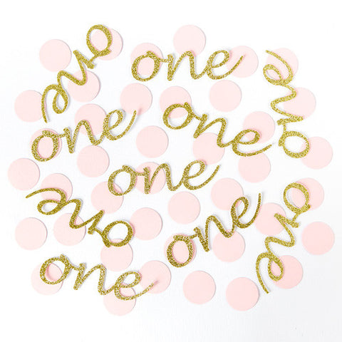 Pink & Gold Age ONE Birthday Confetti. - First birthday Inspired by Alma - Inspired by Alma Inspired by Alma - Inspired by Alma  confetti - Party decorartions, cake toppers, cupcake topper, confetti, iron on, outfit, straws, decor, first birthday party decorations.,