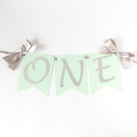First Birthday Highchair banner - Silver and mint