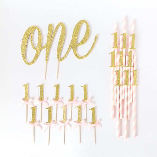 First Birthday Value Party Pack | Pink & Gold - First birthday Inspired by Alma - Inspired by Alma Inspired by Alma - Inspired by Alma  Birthday pack - Party decorartions, cake toppers, cupcake topper, confetti, iron on, outfit, straws, decor, first birthday party decorations.,