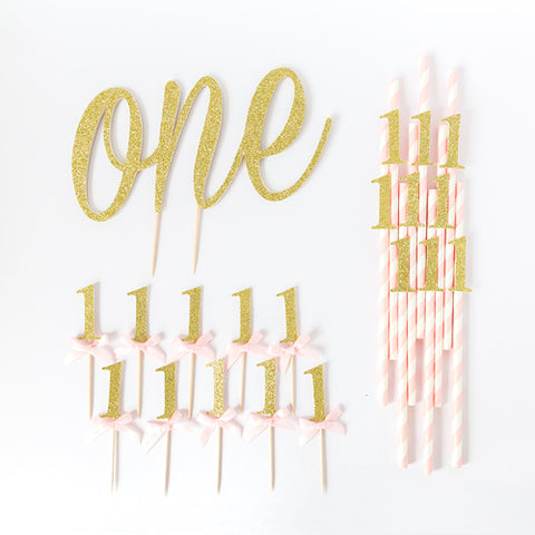 First BIrthday age 1 value birthday pack | pink and gold