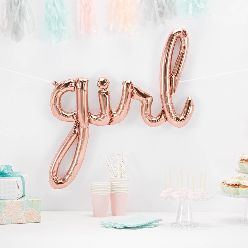 Baby Shower Party Balloon - Written Girl in Rose Gold - First birthday Inspired by Alma - Inspired by Alma Inspired by Alma - Inspired by Alma  Balloons - Party decorartions, cake toppers, cupcake topper, confetti, iron on, outfit, straws, decor, first birthday party decorations.,