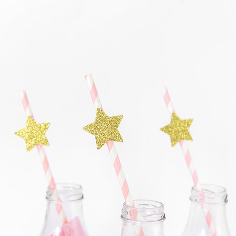 Party Straws - Gold Stars - Pink & White