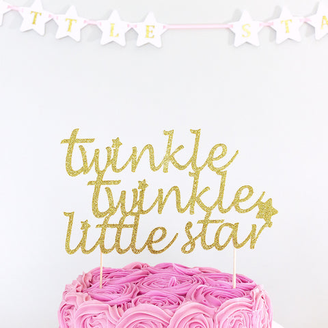 Birthday cake topper twinkle twinkle little star - gold glitter