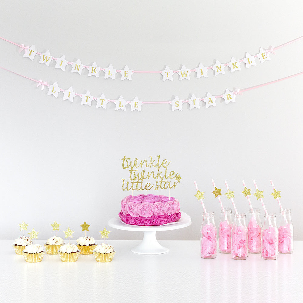 Happy Birthday Wall Banner | Twinkle Twinkle Little Star - First birthday Inspired by Alma - Inspired by Alma Inspired by Alma - Inspired by Alma  Wall banner - Party decorartions, cake toppers, cupcake topper, confetti, iron on, outfit, straws, decor, first birthday party decorations.,