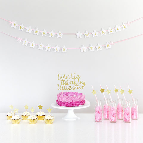 Twinkle twinkle pink gild and white wall banner party decorations
