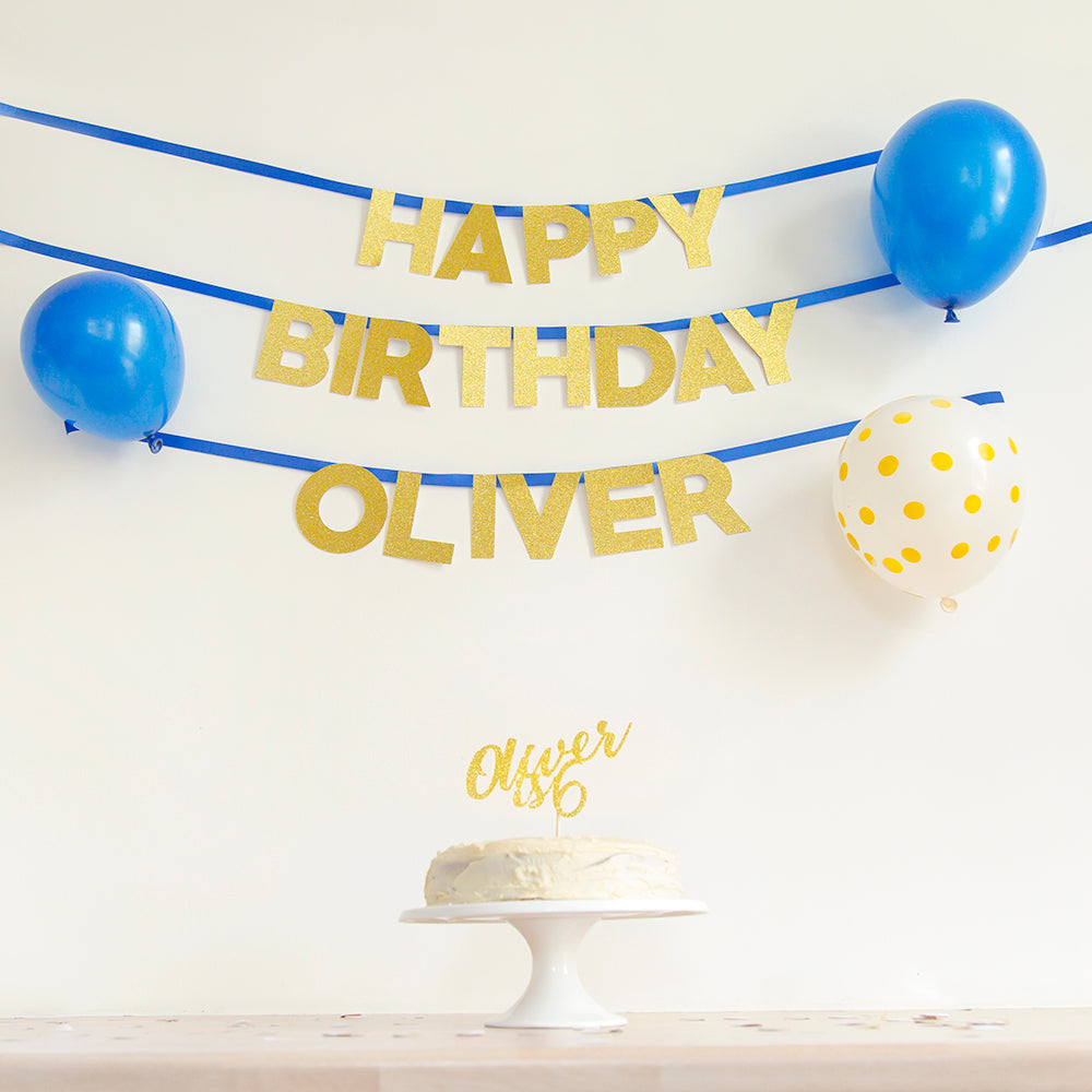 Happy Birthday Name Banner | Custom Colour - First birthday Inspired by Alma - Inspired by Alma Inspired by Alma - Inspired by Alma  Wall banner - Party decorartions, cake toppers, cupcake topper, confetti, iron on, outfit, straws, decor, first birthday party decorations.,