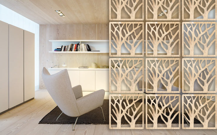 Hanging screen . Wooden room divider - Style Trees / 12 pieces
