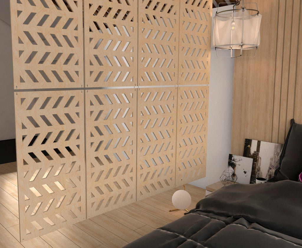 Eco Room Divider / Wooden Hanging Screens Style Fir- 6 pieces