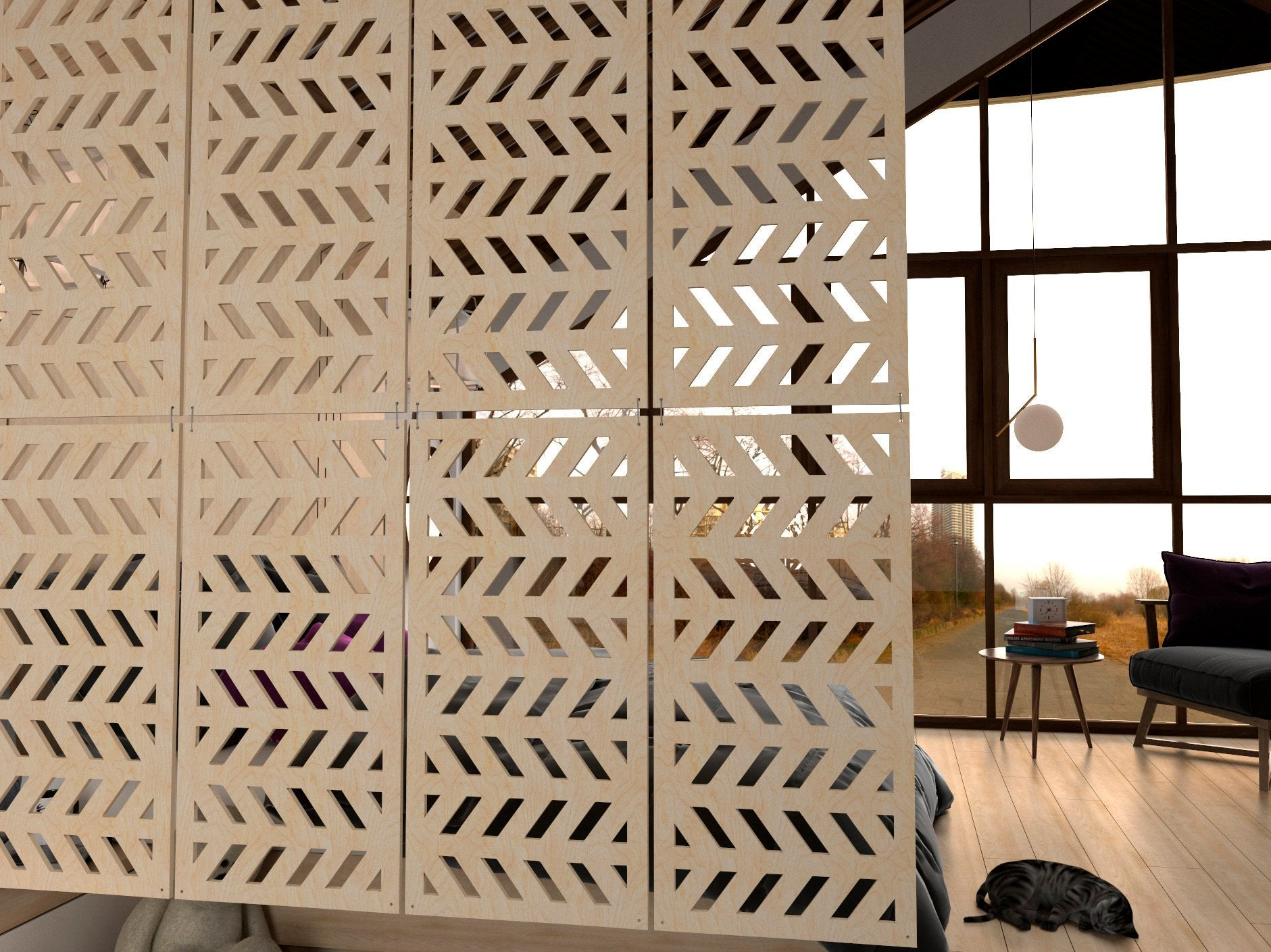 Eco Room Divider / Wooden Hanging Screens Style Fir- 6 pieces – Puzzlider