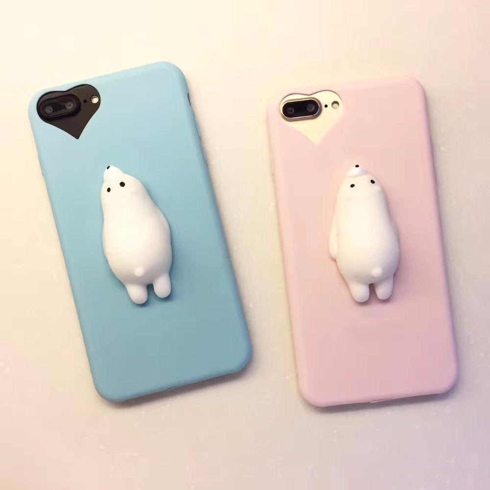 online retailer ad1a3 a5b8c [Freeship] 3D Cute Soft Pappy Squishy Seal Polar Bear Phone Case for iphones