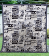 Motorcycles Black White Quilt Blanket