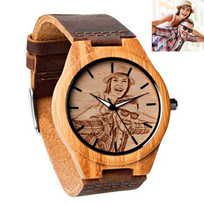 Front & back Engraving Wooden Watch L025