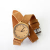 Minimalist wooden watch with long genuine leather