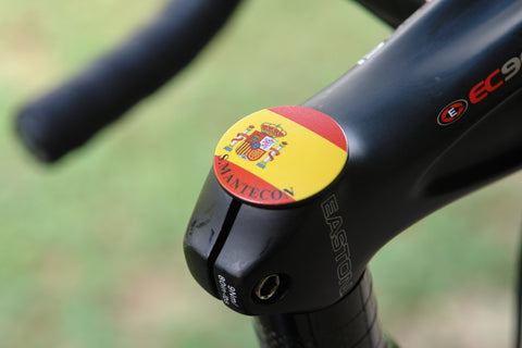 The Spain Stem Cover- a 2 piece, custom designed bicycle stem caps to replace your current headset cover or stem cap.