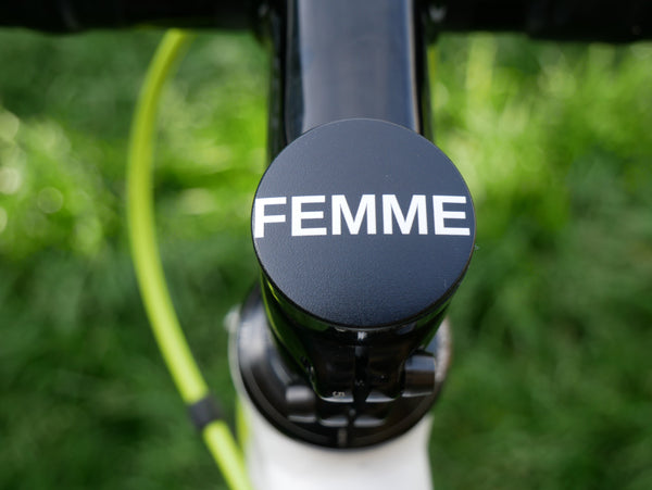 Femme Starr Walker- a 2 piece, custom designed bicycle stem caps to replace your current headset cover or stem cap.