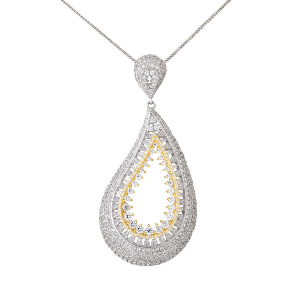 925 Sterling Silver Necklace Two Color Drop Decorated Clear Cubic Zirconia Media 27GS3X1112100