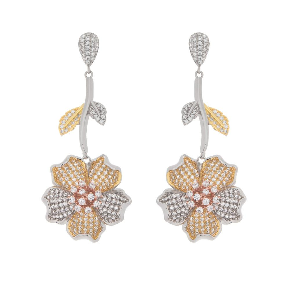 925 Sterling Silver Two Tones Drop Flowers Earrings Micro Pave AAA Cubic Zirconia 27B012222713 FashionCat.1