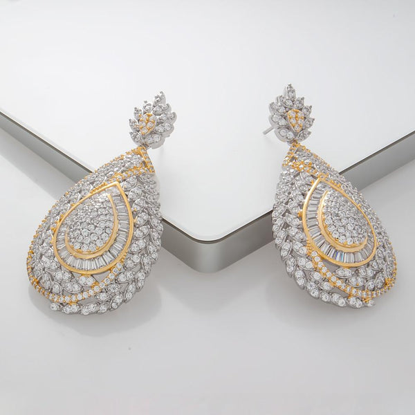 925 Sterling Silver Two Tones Drop Earrings Micro Pave AAA Cubic Zirconia E27ER000542186.2