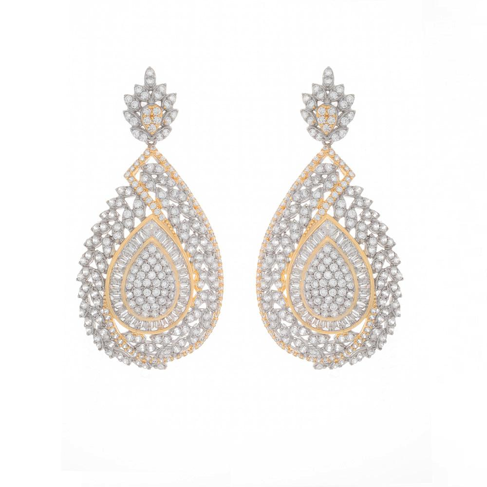 925 Sterling Silver Two Tones Drop Earrings Micro Pave AAA Cubic Zirconia E27ER000542186.1