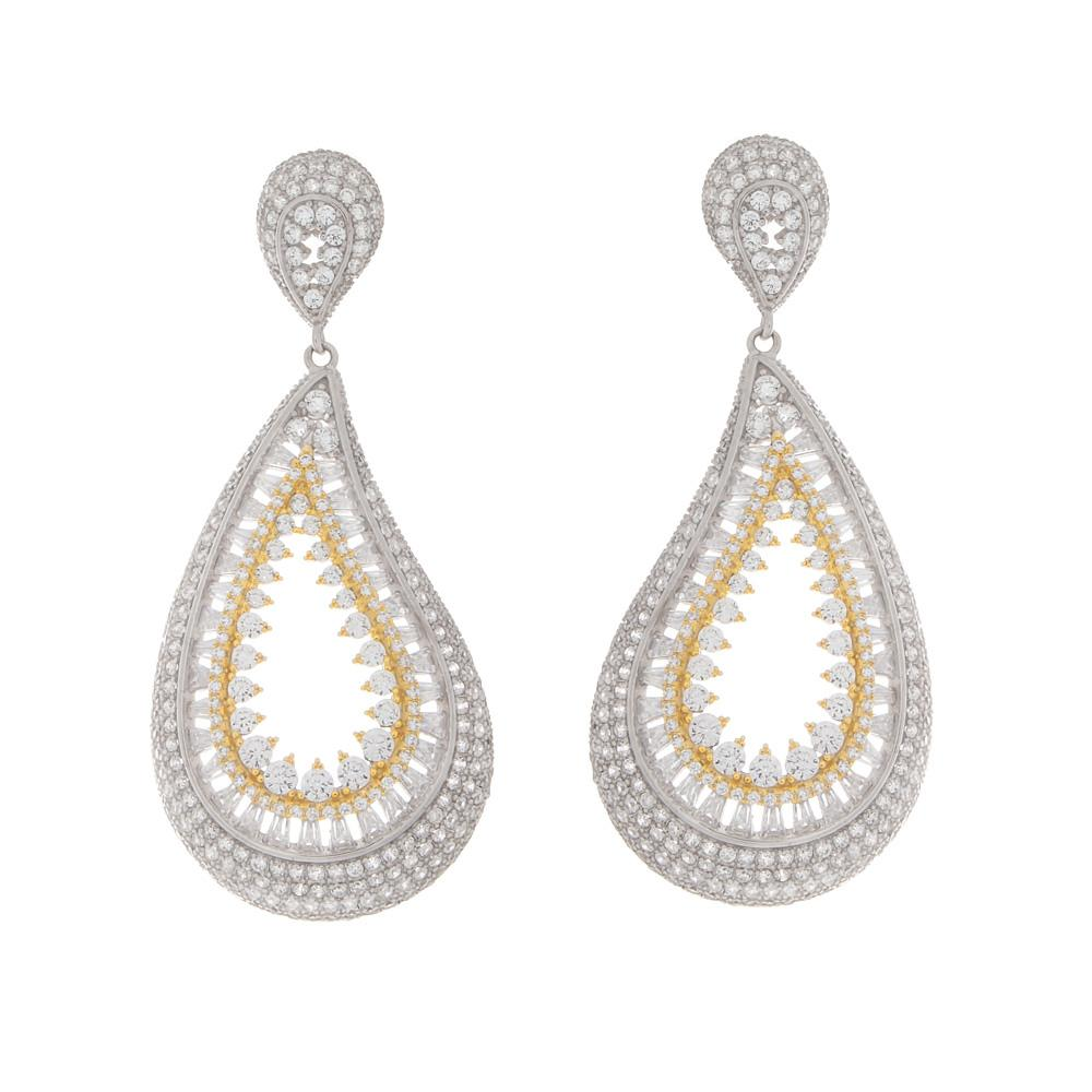 925 Sterling Silver Two Tones Drop Earrings Pave CZEarrings-27ER000602764-FashionCat.1