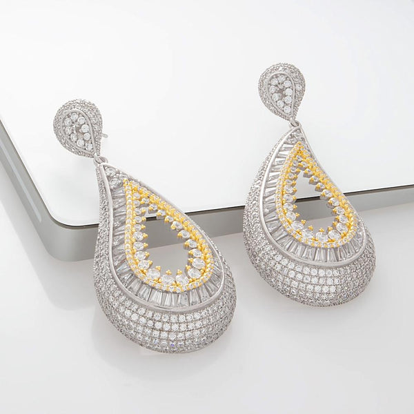 925 Sterling Silver Two Tones Drop Earrings Pave CZEarrings-27ER000602764-FashionCat.2