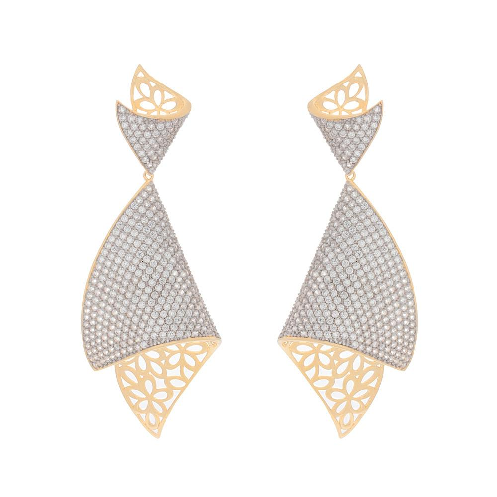 925 Sterling Silver Two Tones Dangle Earrings Micro Pave AAA Cubic Zirconia FashionCat 27ER100342760.1