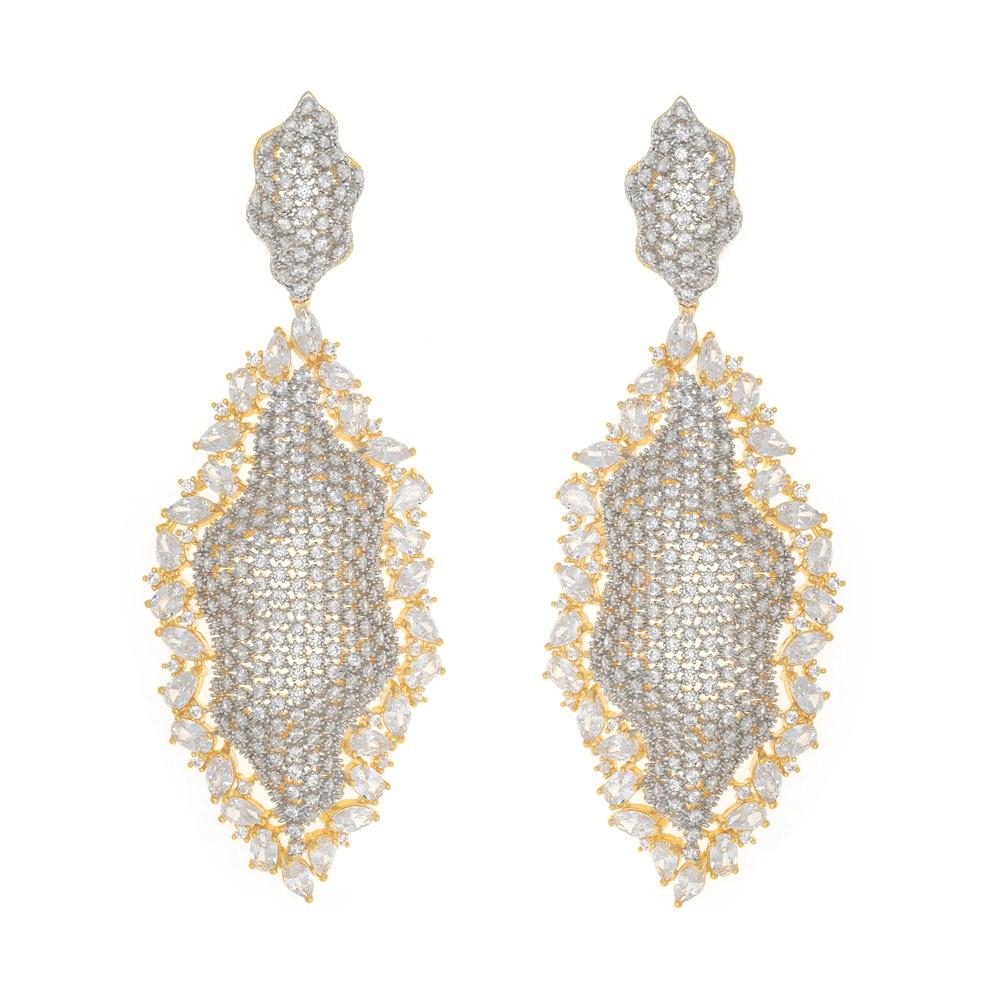 925 Sterling Silver Two Tones Drop Earrings Micro Pave Clear AAA Grade Cubic Zirconia 27ER3X103817 FashionCat.1