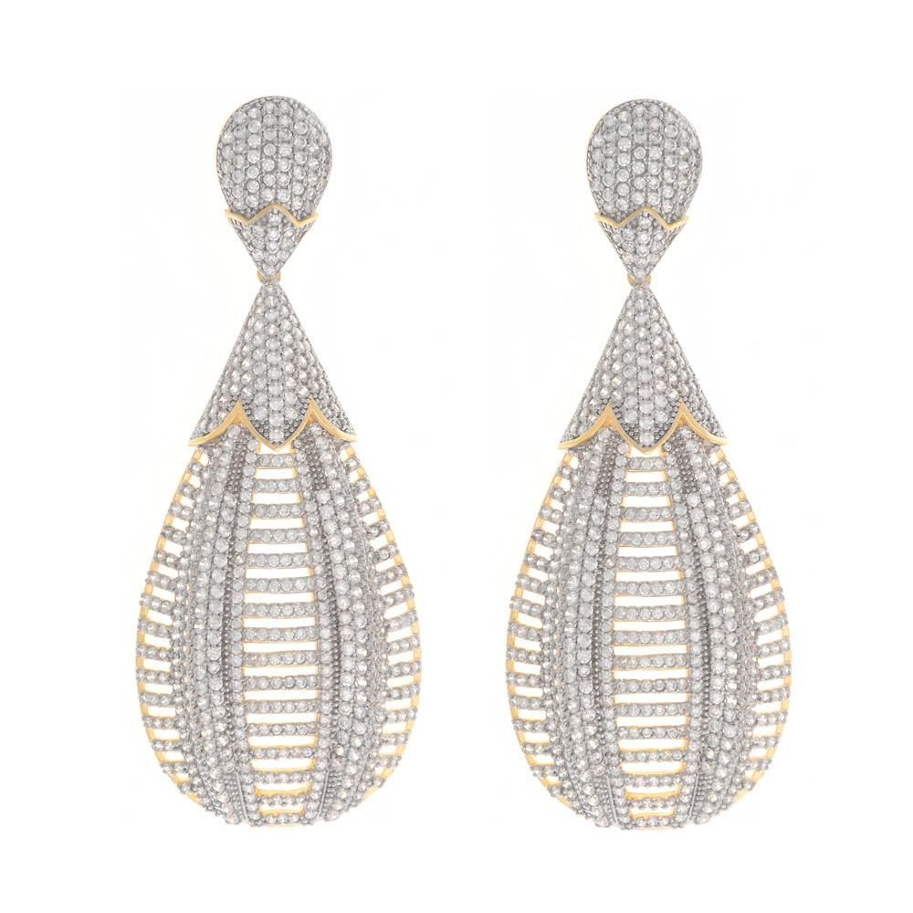 925 Sterling Silver Two Tones Drop Earrings Micro Pave AAA Cubic Zirconia 27ER3X1803574 FashionCat.1